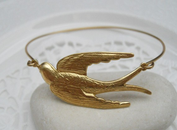 Flying solo swallow bangle by phunkstyle on etsy