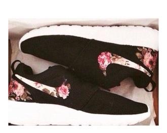 shoes nike black flowers floral running tennis women