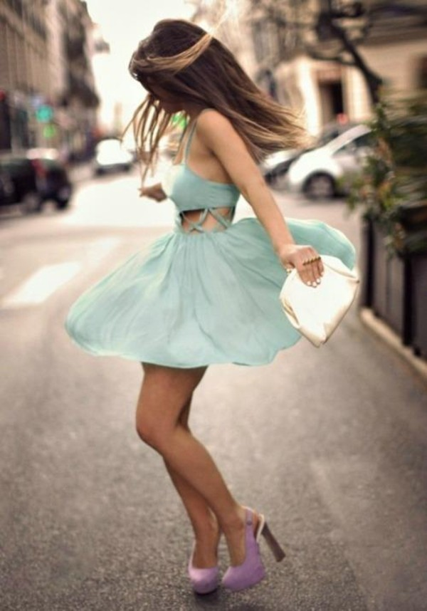 dress pastel blue formal dress cut-out dress pastel cute dress purple high heels blue dress side cutout dress cut-out dress short dress summer skater dress tumblr hipster girly french shoes bag blue