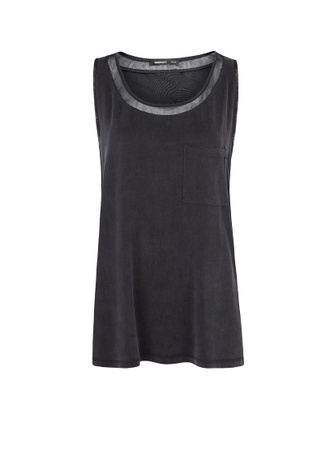 t-shirt black mesh mesh cupro t-shirt sleeveless t-shirt mango