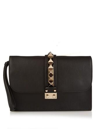 clutch leather black bag