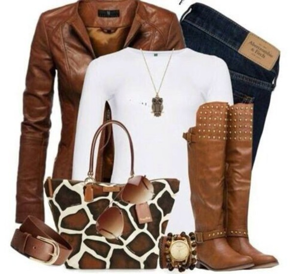 bag brown giraffe shoes jeans