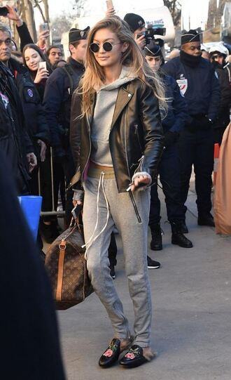 sweater hoodie grey grey sweater sweatpants gigi hadid model off-duty jacket biker jacket
