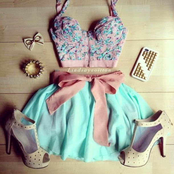 mint min iskirt nude heels pink top bustier blouse crop tops skirt dress skirt & blouse shoes top bralette blue pink bow pastel bow summer spring spring skirt outfit