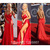 Aliexpress.com : Buy Rita Ora Spaghetti Traps Sweetheart High Slit Red Satin A Line Open Back Sexy Celebrity Dresses Special Occasion Dress 2014 from Reliable dress cutout suppliers on SFBridal