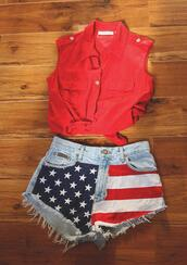 blouse,red,red blouse,america,shrts,shorts,summer,cute,hot,american flag,stars,denim,hipster,red clue,blue,women,rights,old vintage,shirt,top,red top,red shirt,cropped,tie,tie up,vintage,demin,blood red,jeans,american flag shorts