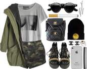 t-shirt,chanel,nefertiti,beanie,sunglasses,boobstee,shorts,cigarette,boobs shirt,jewels,bag,jacket,shoes