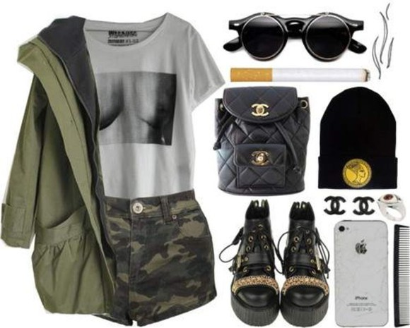 tee bag shoes t-shirt beanie shorts chanel nefertiti sunglasses boobstee cigarettes boobs shirt jewels jacket