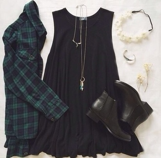 shirt black t-shirt plaid checkered tartan black dress boots jewels necklace bracelets headband floral headband dress hat shoes