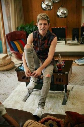 menswear niall horan ripped jeans grey jeans mens jeans tank top mens ripped jeans