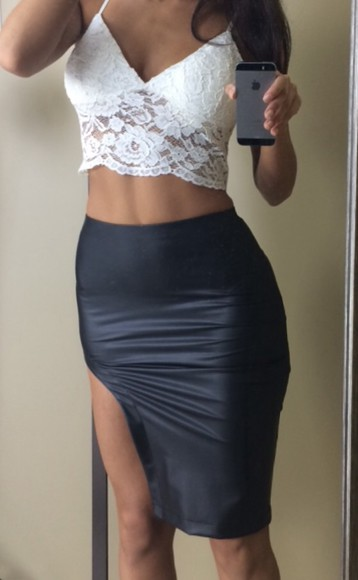 cut-out faux leather skirt skirt side cut out skirt leather cut out skirt