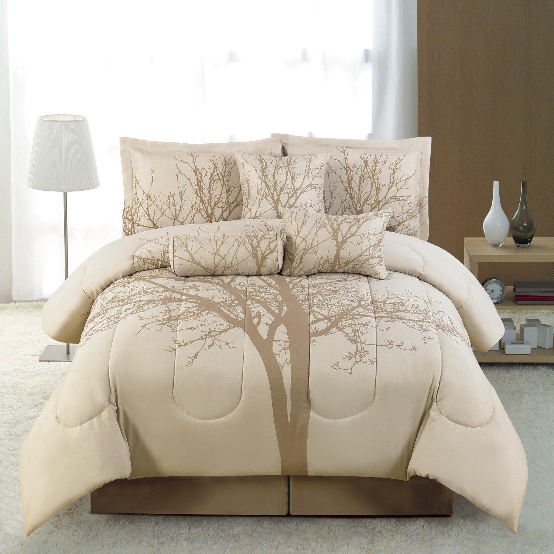 Beige and brown bedding - Amazon Com 5 Pc Luxury Bed In A Bag Brown Dark Beige Winter Tree Comforter Sset Twin Size Bedding
