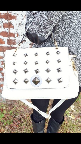 bag studs purse handbag white