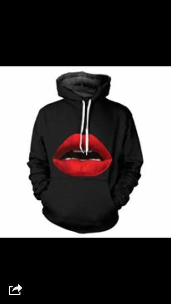 sweater black sexy lips hoodie