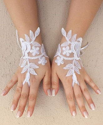 gloves lace bridal gloves wedding lace fingerless gloves white