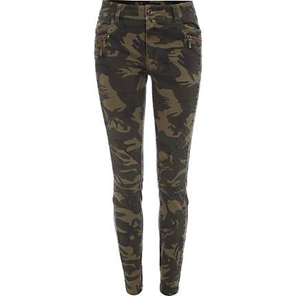 Khaki camo print skinny pants - skinny / super skinny pants - pants - women ($70.00)