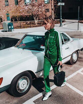 pants joggers tracksuit green shoes bag sunglasses