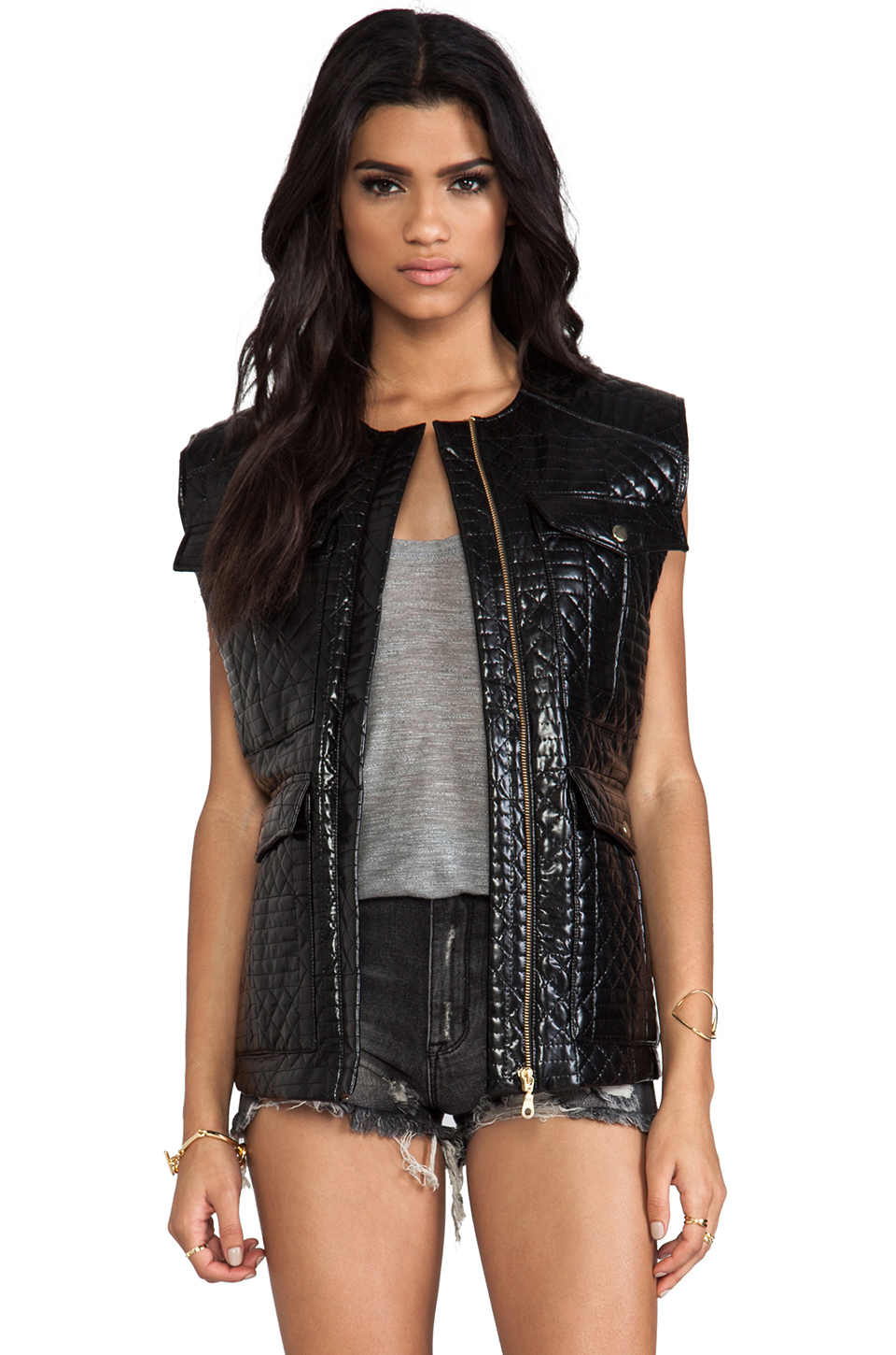 Shakuhachi Quilted Vest in Black | REVOLVE