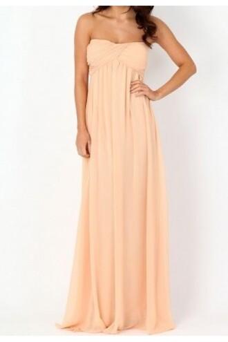 dress maxi dress fashion escloset style coral dress peach dress