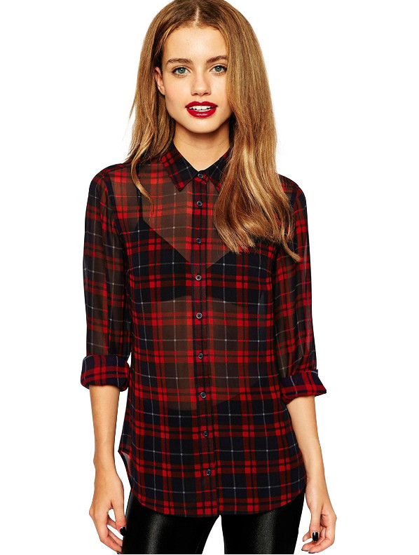 compare prices on red checked shirt womens online