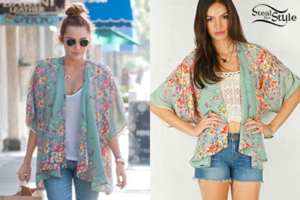 Top: miley cyrus, pastel, floral, summer outfits, kimono - Wheretoget