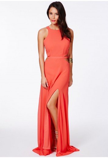 5470dca4590c Missguided - Anthea Cut Out Split Maxi Dress In Coral