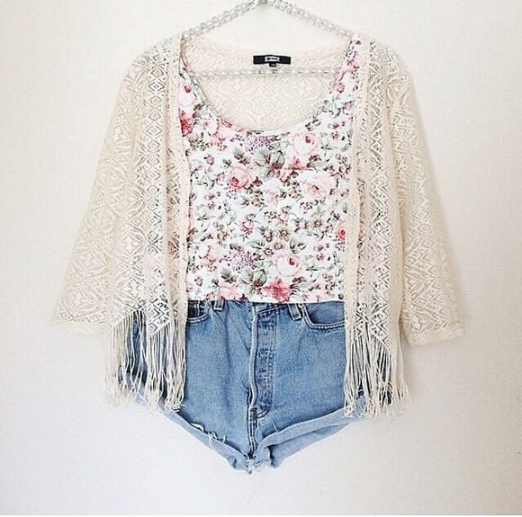 tank top floral jacket cute white pink pink flowers tumblr summer outfits style white tank top kimono fashion trends 2014 2014 beach fashion helps love pink love tumblr girl roses