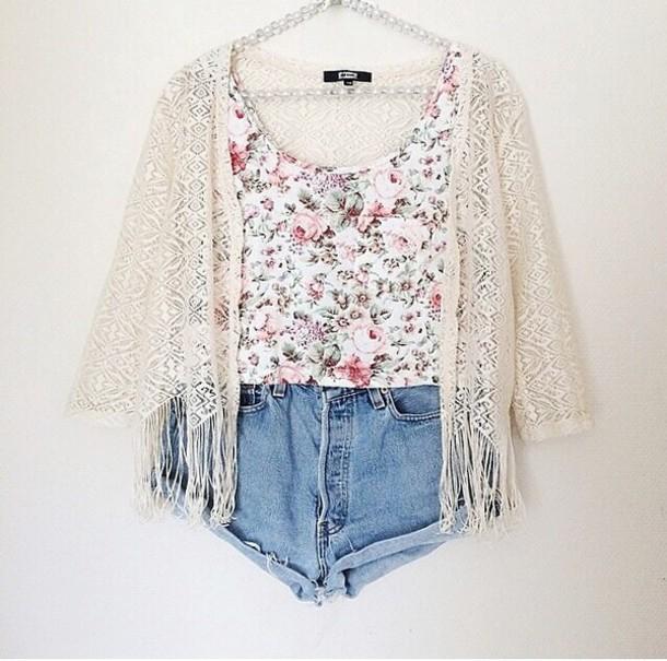 087d1e3c8aa6b tank top white tank top white pink flowers flowers cute summer kimono  kimono fashion style trends