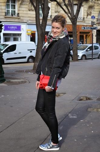 babymodeuse blogger tartan scarf red bag bomber jacket silver shoes
