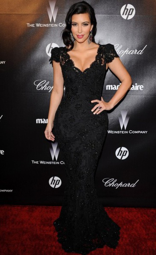 dress kim kardashian black prom dress celebrity style mermaid prom dress v neck dress long prom dress sexy prom dress