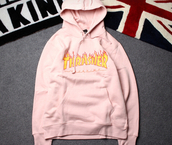 sweater,pink,logo,thrasher,hoodie,style,long sleeves,beautifulhalo