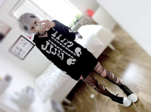 grunge cardigan sweater goth gothic lolita gothic dress skeleton black dress black alternative white bones cute pastel goth creepy