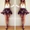 Stylish v neck long sleeve tiny floral print short dress for women