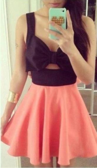 dress black corail blow tie noir skaterdress bag pink dress pink party bow pretty pink bow dress cute bow dress black dress cute cute dress pink black bow black and pink dress