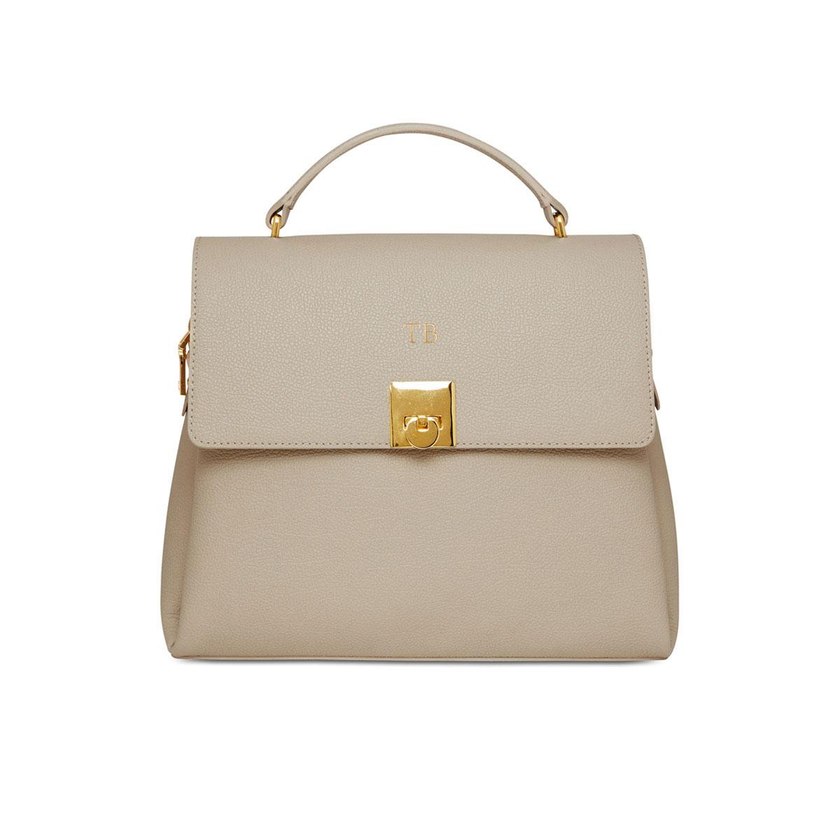 Grainy Stone Top Handle Bag (Gold Zip)