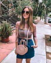 sunglasses,denim skirt,mini skirt,crossbody bag,checkered,transparent,high neck