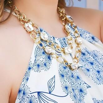 jewels the shopping bag gold rhinestones sparkle gold necklace gold link necklace gold links fashion jewelry statement necklace statement wedding necklace spring jewelry summer jewelry wedding jewelry