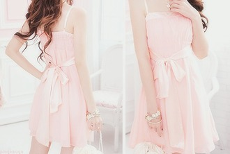 dress cute pink dress bow pink dress with bow fashion girl pink dress with bow kfashion korean fashion