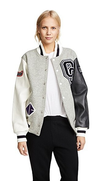 jacket varsity jacket classic varsity light grey