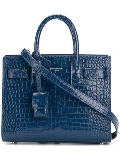 Saint Laurent mini women leather blue bag