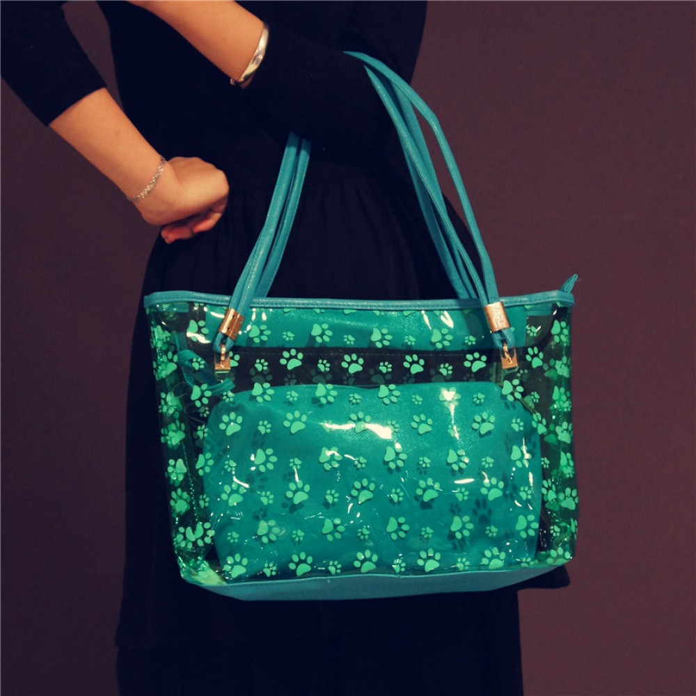 Blue clear tote handbag