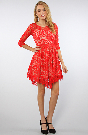 Free People The Floral Mesh Lace Dress in Hot Red -  Karmaloop.com