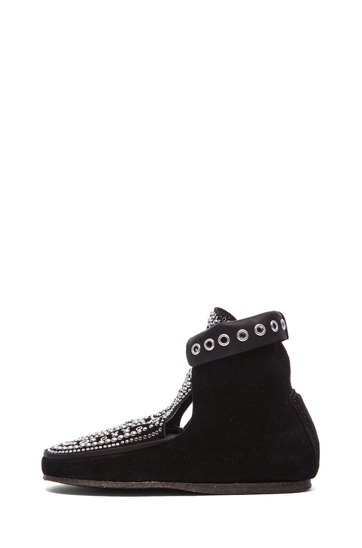 Morley rivet calfskin velvet leather moccassins in black