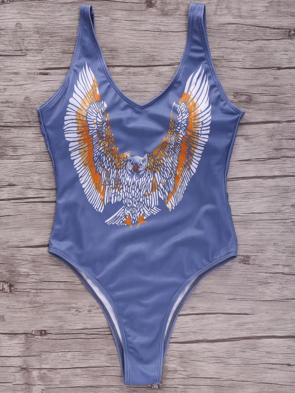 swimwear one piece swimsuit birds summer beach hot zaful blue