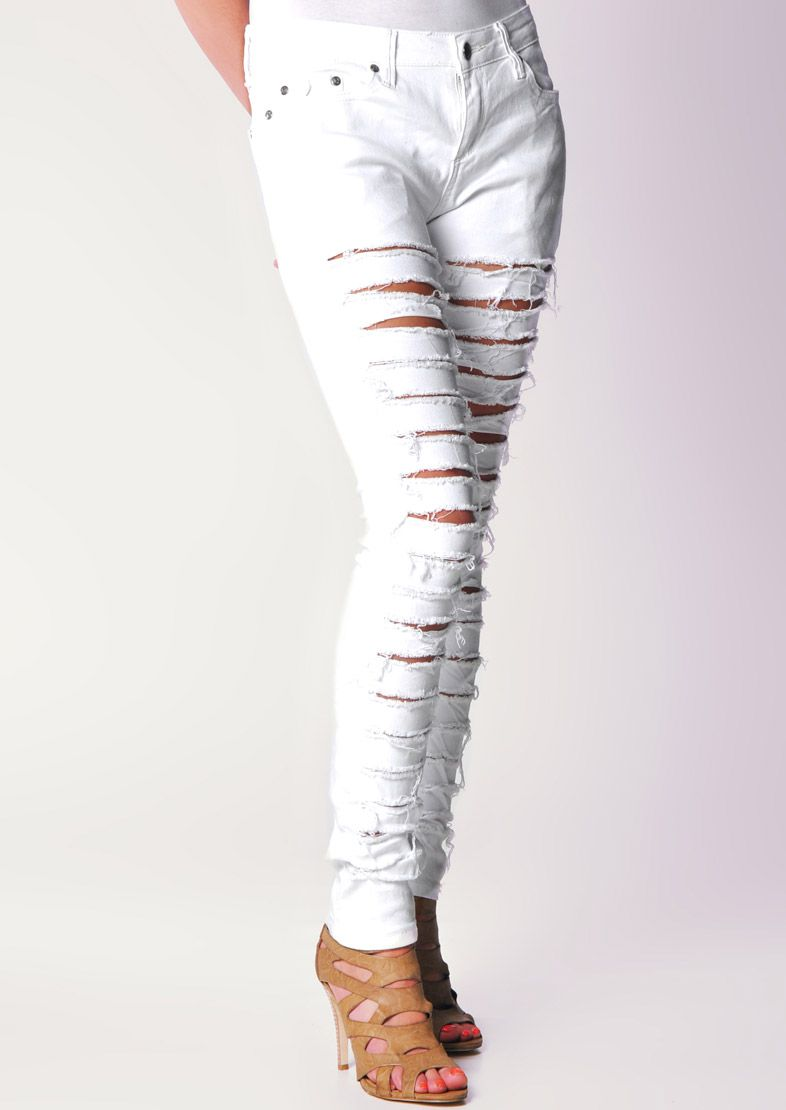 White Skinny Jeans With Ripped Detail By Criminal Damage