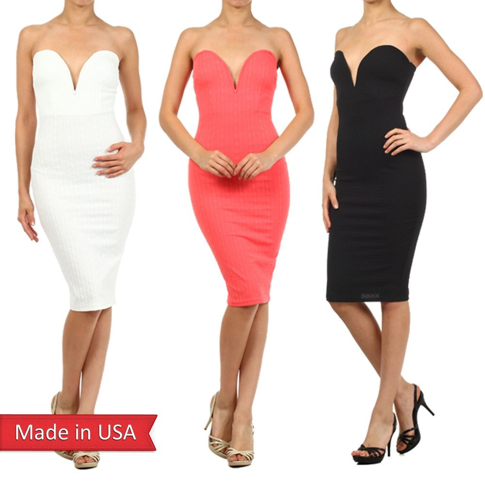 Sexy Strapless Sweetheart Neckline w/ Wire Bodycon Fitted Solid Color Dress USA