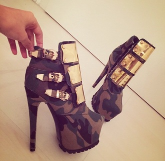 shoes military shoes gold high heels camouflage combat boots heels plates buckles fashion millitary boots