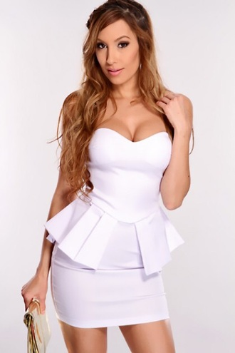 Strapless Peplum Dress - Shop for Strapless Peplum Dress on Wheretoget
