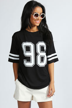 Debbie Number 98 Oversized Top at boohoo.com