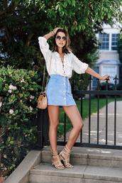 viva luxury,blogger,shoes,blouse,sunglasses,jewels,white blouse,lace up,denim skirt,mini bag,nude sandals,blue suede skirt
